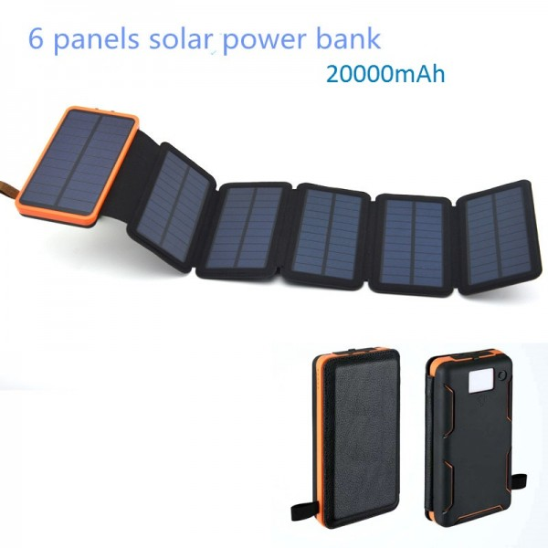 Solar Mat, 20000mAh Solar Charger Power Bank for Mobile Phones, Tablet PCs, Laptops and Other USB-Charged Devices, with 6 Solar Panels, Dual USB ports, LED Flashlight, Waterproof, Dustproof, and Shockproof.Device