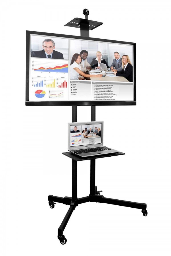 MULTIMEDIA TV Cart Mobile TV Stand Wheeled Height Adjustable Flat Screen Television Stands with Rolling Casters and Shelf, VESA Compatible TV Mount Bracket Fits Displays 37 to 70 Inch
