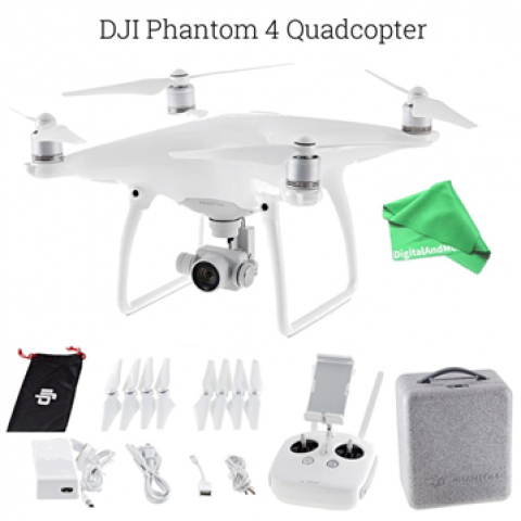 DJI Phantom 4 Quadcopter Drone Aircraft + DigitalAndMore Ultra Gentle Microfiber Lens Cleaning Cloth