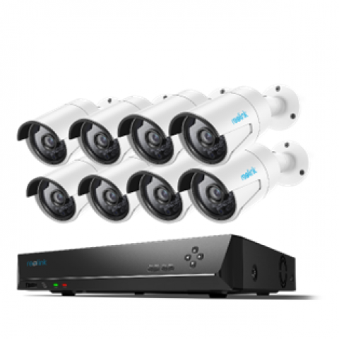 Reolink PoE Home Security Camera System 4 Megapixels Super HD 2560x1440 16 Channel NVR 3TB Hard Drive 8 Bullet IP Cameras 24/7 Recording RLK16-410B8