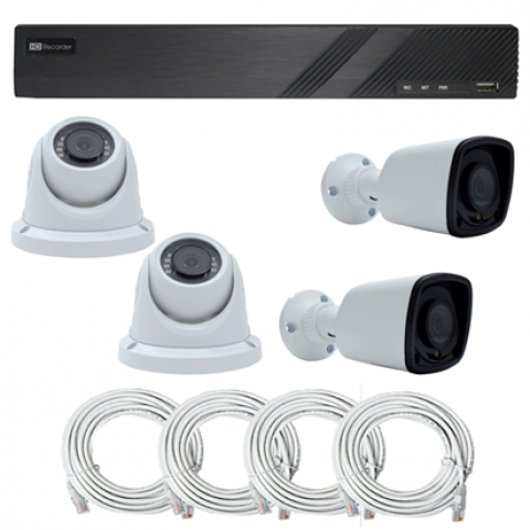 Complete Sibell 4 Camera CCTV and NVR 2MP 1U NVR Surveillance System with POE