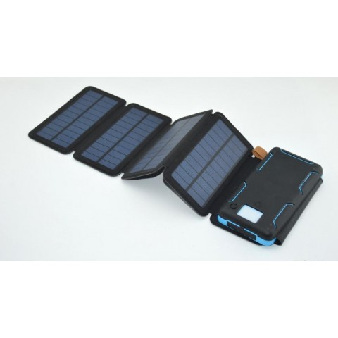 Solar Mat, 20000mAh Solar Charger Power Bank for Mobile Phones, Tablet PCs, Laptops and Other USB-Charged Devices, with 5 Solar Panels, Dual USB ports, LED Flashlight, Waterproof, Dustproof, and Shockproof.Device