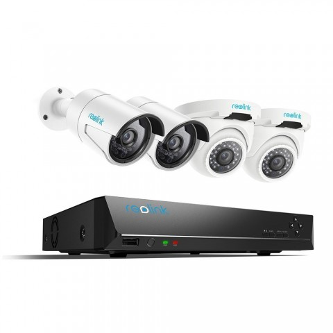 Reolink 8CH PoE Surveillance System, 2 Bullet & 2 Dome 4MP Weatherproof Security IP Cameras, 8 Channel 5MP NVR Include 2TB Hard Drive Night Vision RLK8-410B2D2